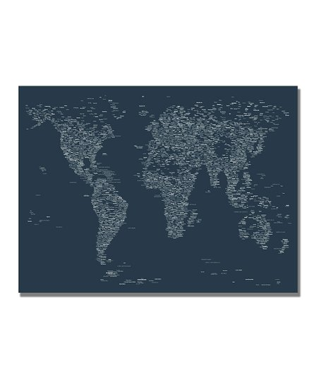 Navy Font World Map Gallery-Wrapped Canvas