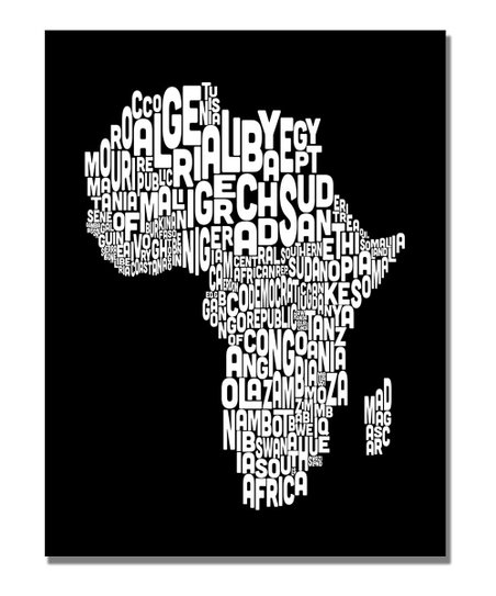 Font Africa Map Gallery-Wrapped Canvas