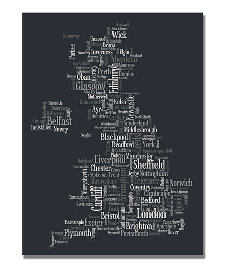 Font UK Cities Map Gallery-Wrapped Canvas