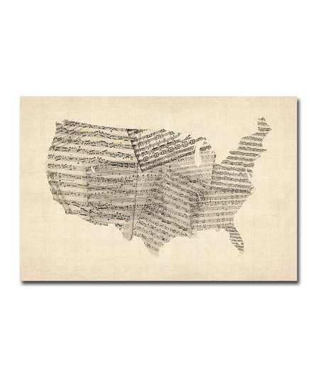 Old Sheet Music USA Map Gallery-Wrapped Canvas