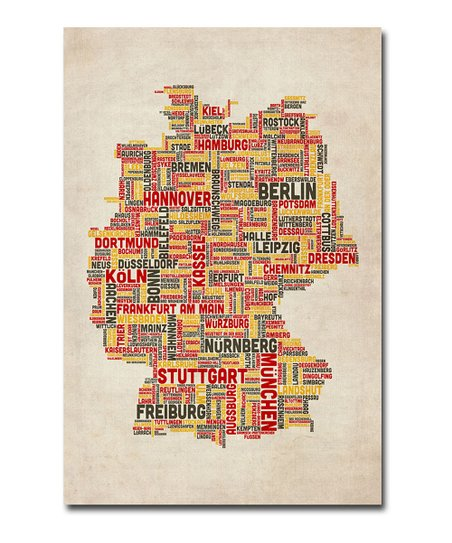 Cities Text Germany Map Gallery-Wrapped Canvas