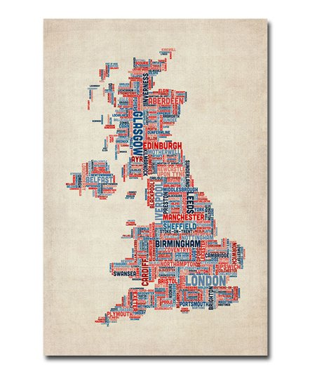 Cities Text UK Map Gallery-Wrapped Canvas