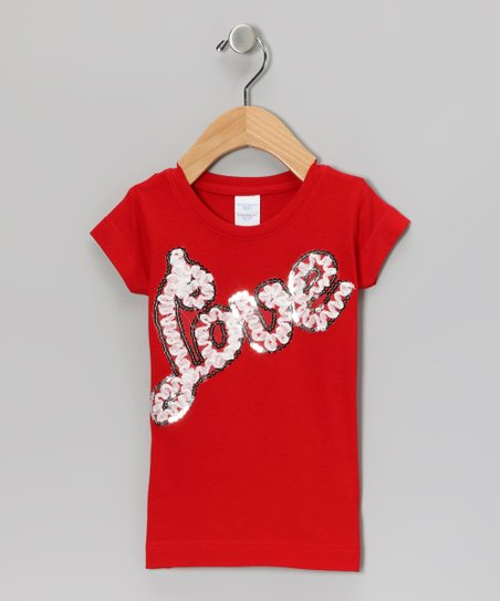 Red Sequin 'Love' Tee - Toddler & Girls