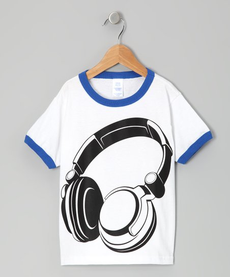 White & Blue Headphones Tee - Toddler & Kids