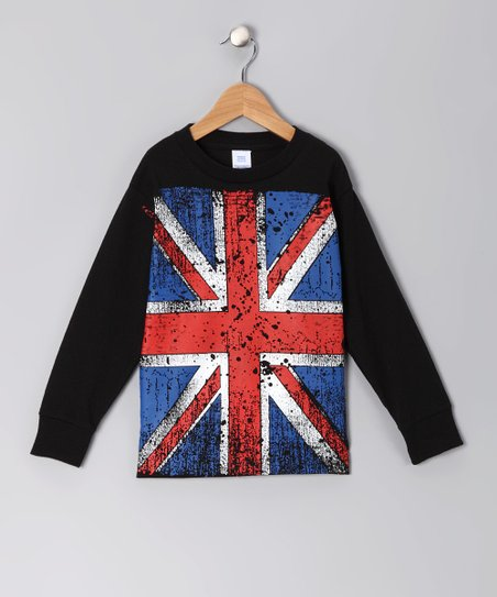 Micro Me Black Vintage British Flag Tee - Infant, Toddler & Kids