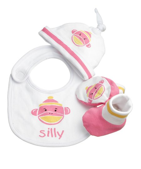 Pink 'Silly' Monkey Bib Set