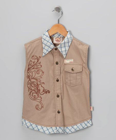 Brown Plaid Sleeveless Button-Up - Boys