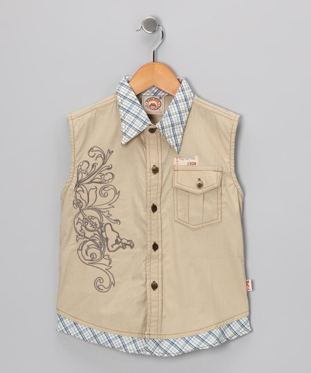 Tan Plaid Sleeveless Button-Up - Boys