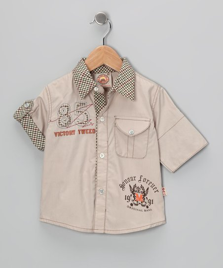 Tan '85' Button-Up - Infant & Toddler