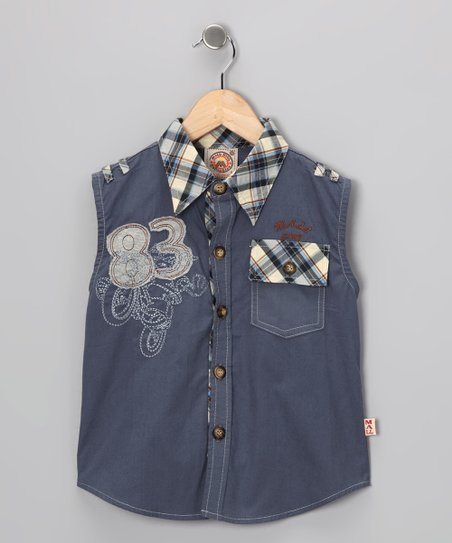 Blue '83' Sleeveless Button-Up - Boys
