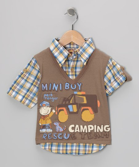 Brown 'Camping' Layered Top - Infant & Toddler