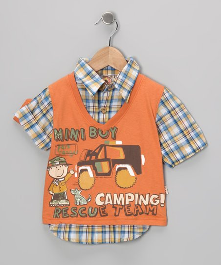 Orange 'Camping' Layered Top - Infant & Toddler
