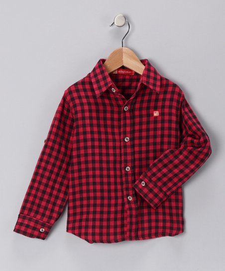 Red & Black Gingham Button-Up Shirt - Toddler & Boys