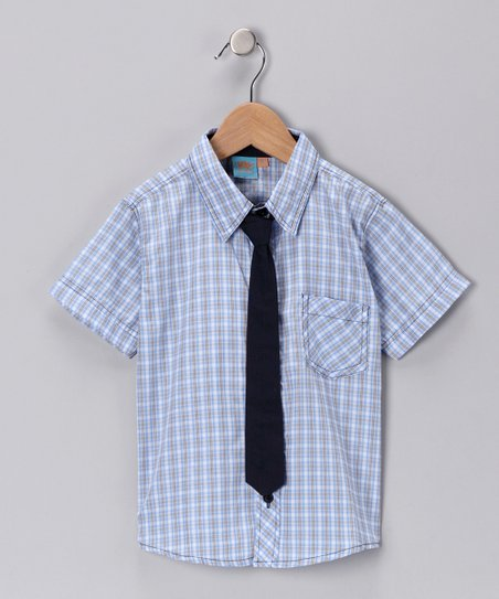 Blue Plaid Tie Button-Up Shirt - Infant, Toddler & Boys