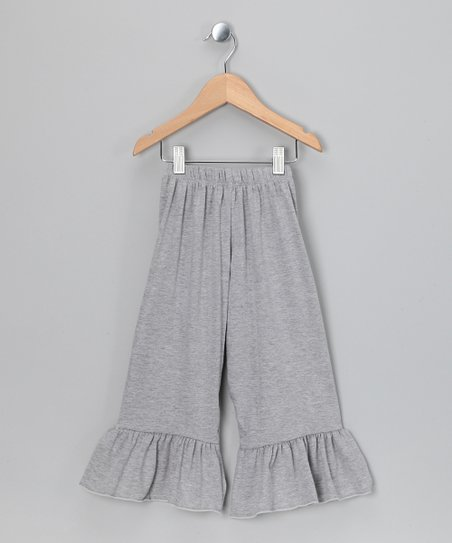 Heather Gray Ruffle Capri Pants - Toddler & Girls