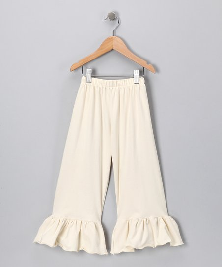 Ivory Ruffle Capri Pants - Girls