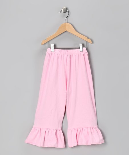 Light Pink Ruffle Capri Pants - Toddler & Girls