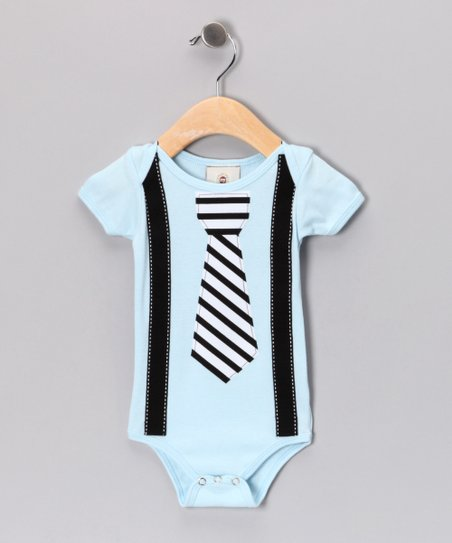 Blue Stripe Tie & Suspenders Bodysuit - Infant