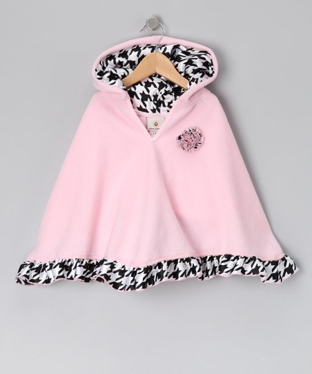 Pink Houndstooth Poncho - Infant, Toddler &amp; Girls