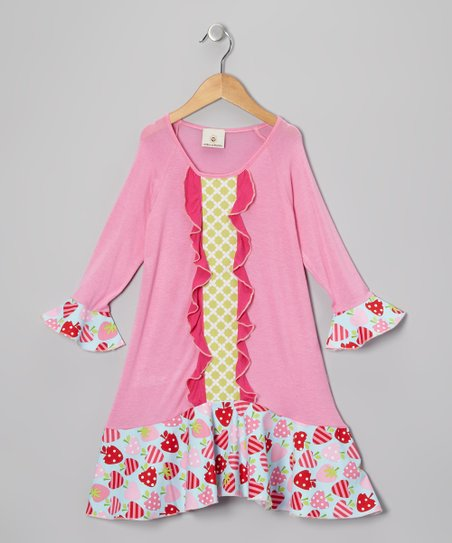 Pink Strawberries Ruffle Raglan Dress - Toddler & Girls