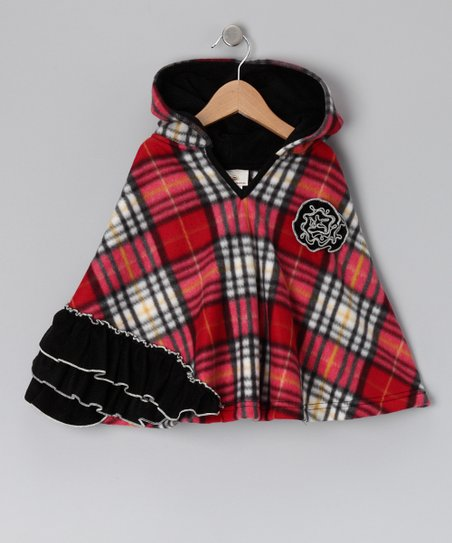 Red &amp; Black Plaid Ruffle Poncho - Infant, Toddler &amp; Girls