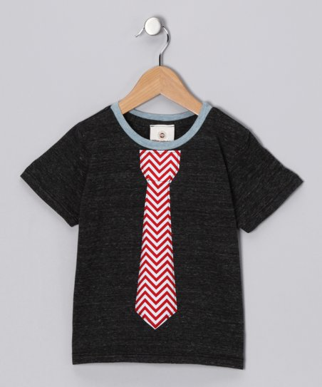 Charcoal & Red Chevron Tie Tee - Toddler & Boys