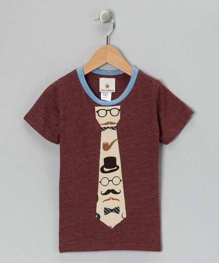 Maroon Mustache Tie Tee - Toddler &amp; Boys