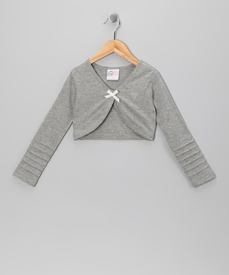 Gray Bow Bolero - Toddler & Girls