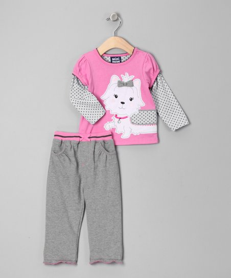 Light Gray Puppy Layered Tee & Pants - Infant