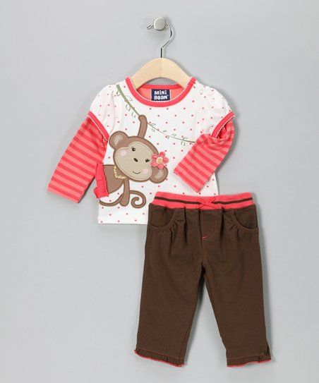 Pink Monkey Layered Tee & Pants - Infant