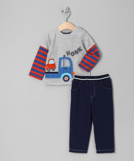 Gray & Blue 'Honk' Truck Layered Tee & Pants