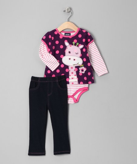 Dark Purple Polka Dot Giraffe Layered Bodysuit & Jeans - Infant