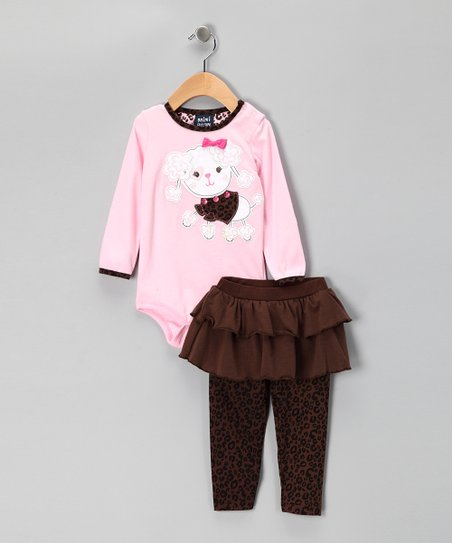 Pastel Pink Poodle Bodysuit & Skirted Leggings - Infant