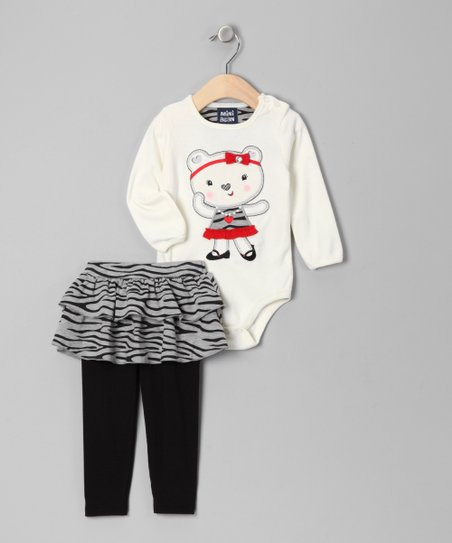 White Bear Bodysuit & Skirted Leggings - Infant
