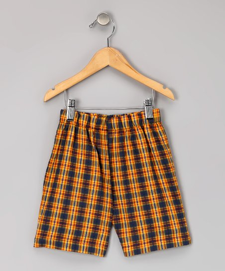 Red & Gold Plaid Seersucker Shorts - Infant, Toddler & Boys