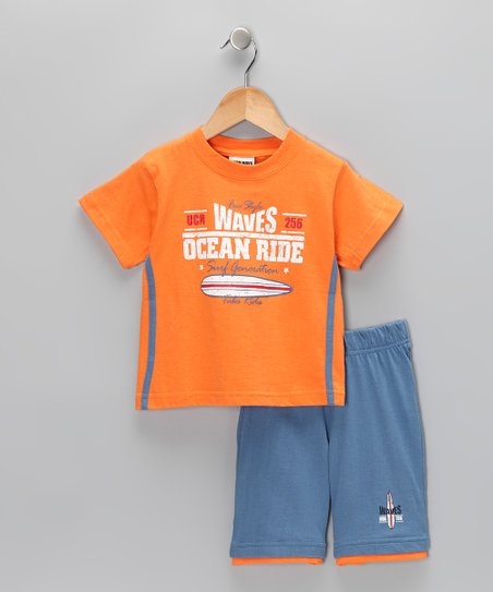 Orange 'Waves' Tee & Shorts - Toddler