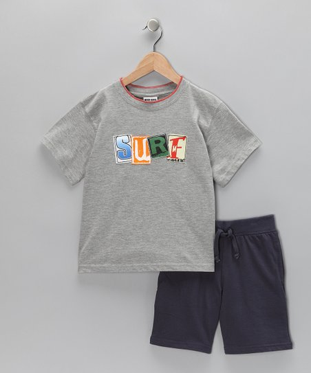 Gray 'Surf' Tee & Navy Shorts - Boys