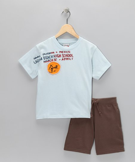 Light Blue Surf Tee & Brown Shorts - Boys