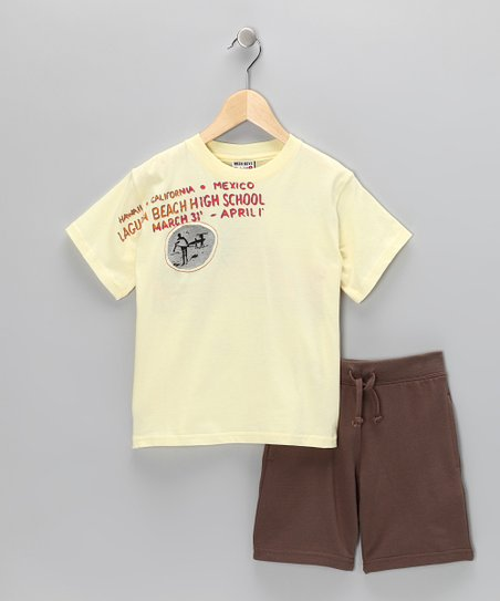 Yellow Surf Tee & Brown Shorts - Boys