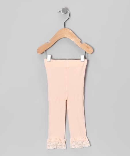 Peach Lace Leggings - Toddler &amp; Girls