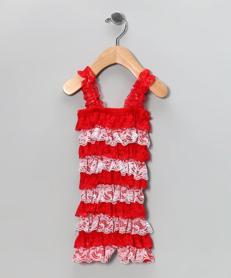 Red & White Lace Ruffle Romper - Infant