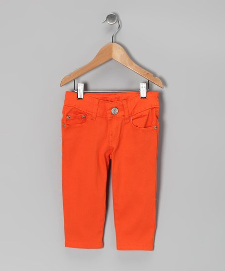 Orange Denim Capri Pants - Girls