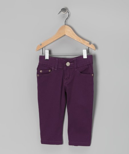 Purple Denim Capri Pants - Girls