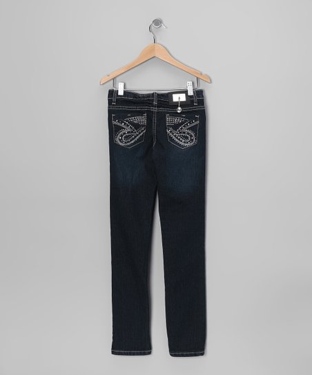 Dark-Wash Swirl Embroidered Skinny Jeans - Girls