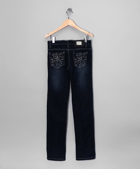 Dark-Wash Embroidered Sun Skinny Jeans - Girls
