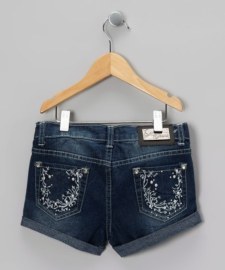 Blue Embroidered Roots Denim Shorts