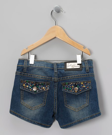 Blue Rainbow Rhinestone Denim Shorts - Girls