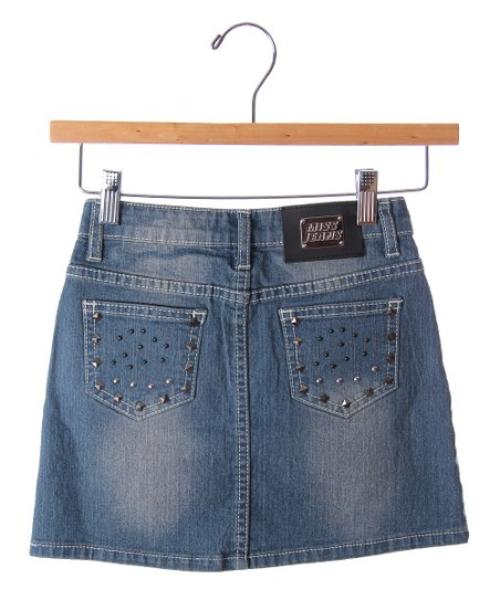 Blue & Black Studded Denim Skirt - Girls