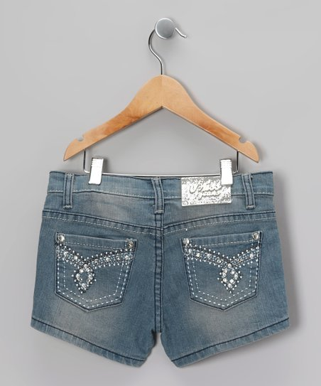 Light Blue Rhinestone Denim Shorts - Girls