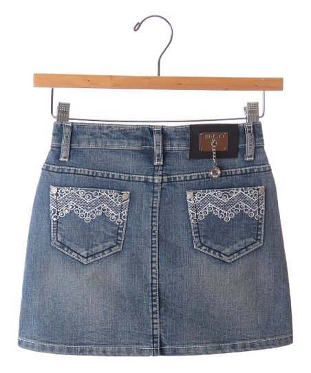 Blue Lace Chevron Denim Skirt - Girls